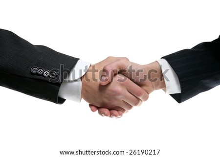 Businessman teamwork partners shaking hands with suit - stock photo