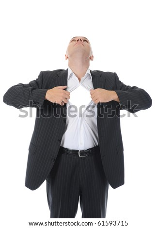 businessman tears open his shirt. Isolated on white background - stock photo
