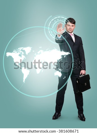 Businessman technology concept - stock photo