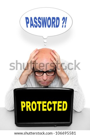 Businessman that forget his password. End of holidays, back to work concept. - stock photo