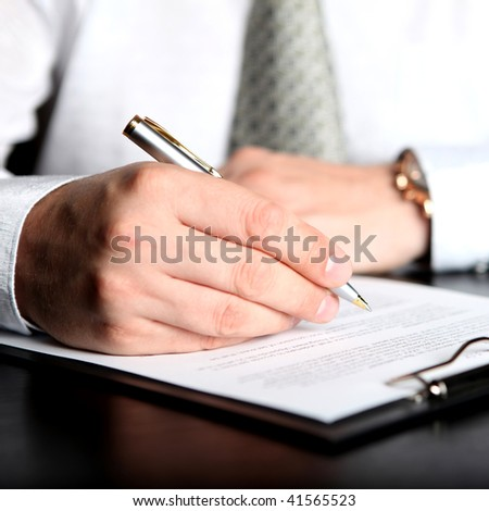 businessman the signing contract - stock photo