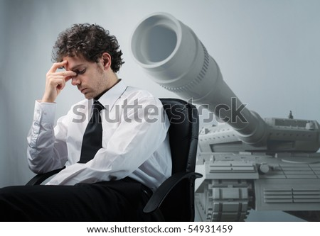businessman think about possible war problem - stock photo