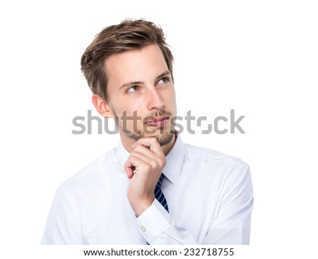 Businessman think of idea - stock photo