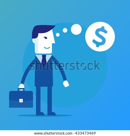 Businessman thinking about money  - stock photo