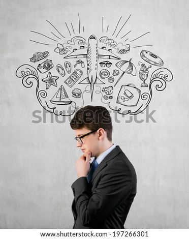 Businessman thinking about vacation time. - stock photo