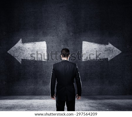 businessman thinking, concept of choice - stock photo