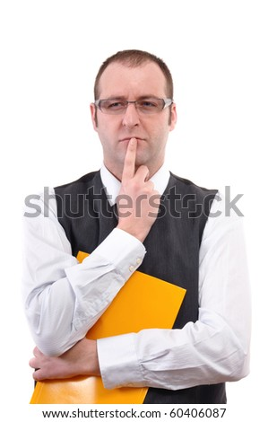 Businessman thinking, image taken over white background. Business solution concept.
