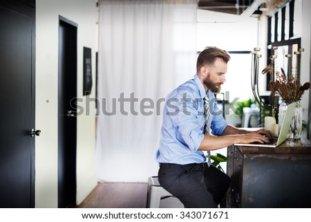 Businessman Thinking Planning Strategy Working Laptop Concept