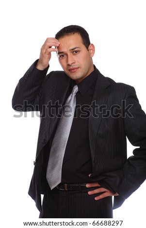 Businessman thinking wearing a suit isolated on white