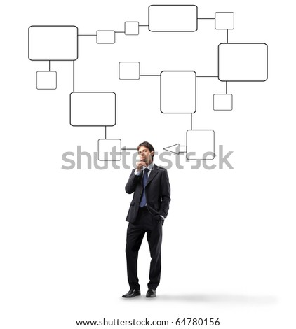 Businessman thinking with schemes on the background - stock photo