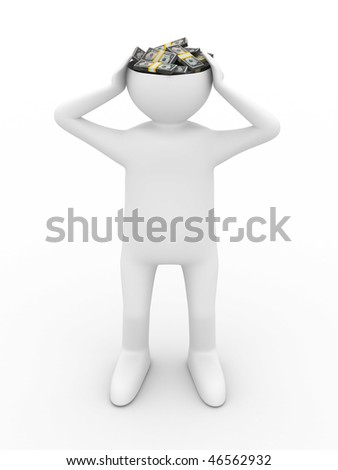 businessman thinks of money. Isolated 3D image - stock photo