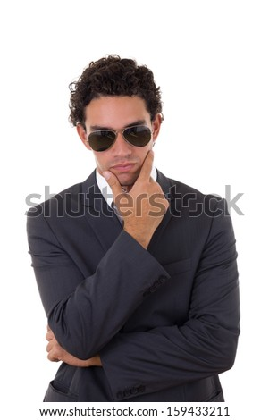 Businessman thoughts, man posing on white background - stock photo