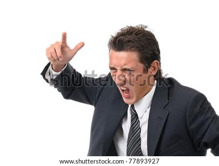 Businessman threatens finger. isolated on white - stock photo