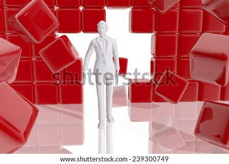 Businessman through wall - stock photo