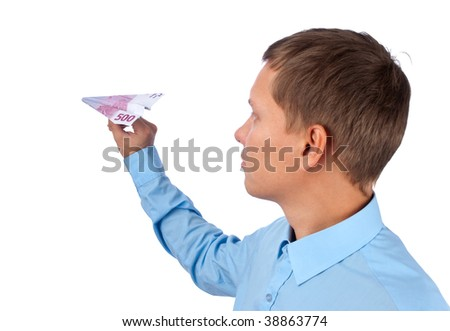 businessman throwing a euro airplane