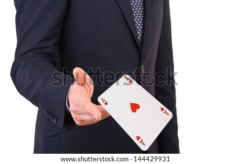 Businessman throwing playing cards. - stock photo