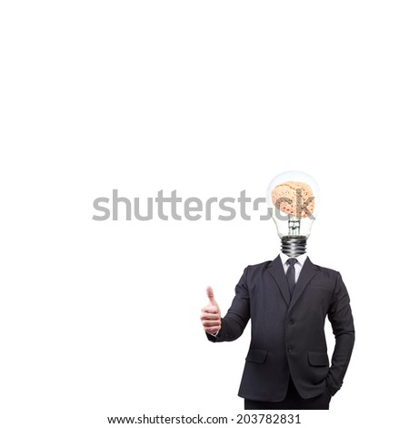 businessman thumb up and head brain inside a light bulb idea concept for success business creativity on white background with clipping path  - stock photo