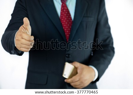 Businessman thumbs and mean wonderfully isolated - stock photo