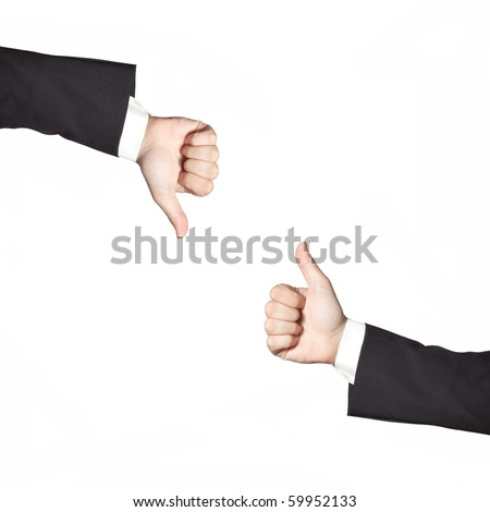 Businessman thumbs up and down isolated on white - stock photo