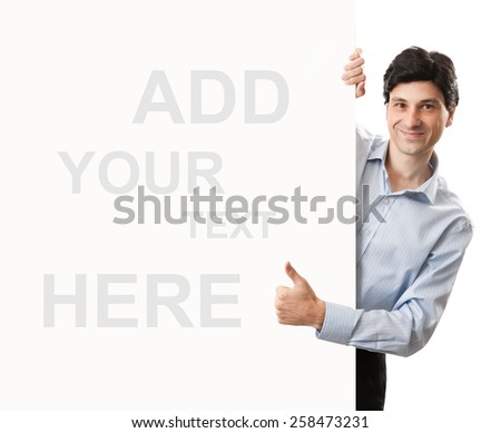 businessman thumbs up behind blank banner isolated on white background - stock photo