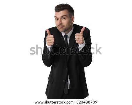 Businessman thumbs up portrait isolated on white background