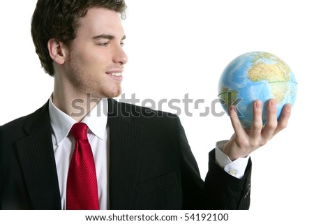 businessman tie suit with world ball global map in hand power communication metaphor - stock photo
