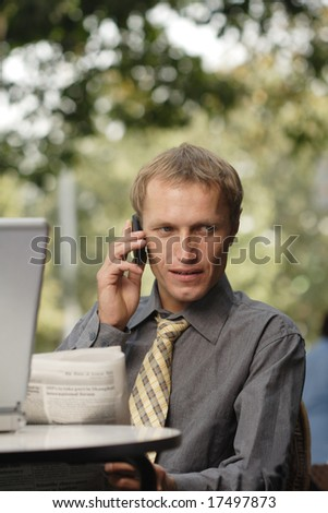 businessman to speak on telephon - stock photo