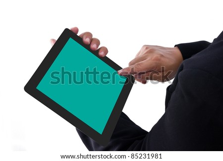 Businessman touch a tablet pc - stock photo