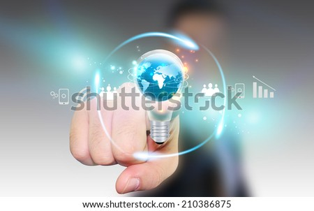 Businessman touch business Ideas. - stock photo