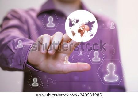 Businessman touch button interface web map communication - stock photo