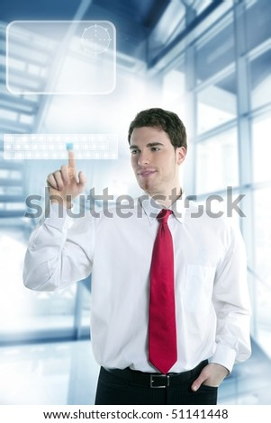 businessman touch finger copy space pad with hand [Photo Illustration] - stock photo