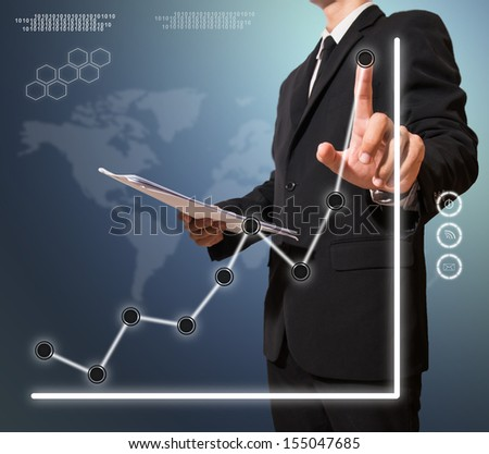 businessman touch graph improve suggest more on digital screen - stock photo