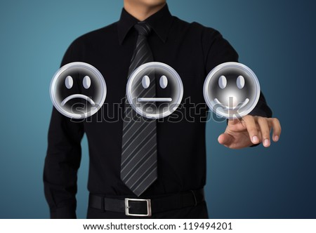businessman touch  happy mood - stock photo