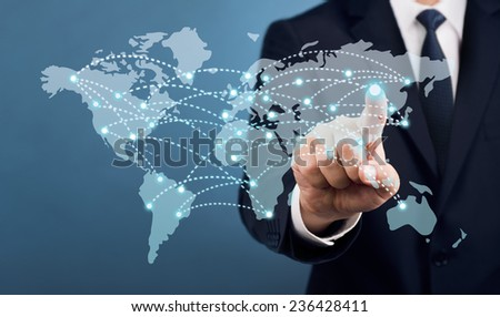 Businessman Touch Screen Concept Set - stock photo