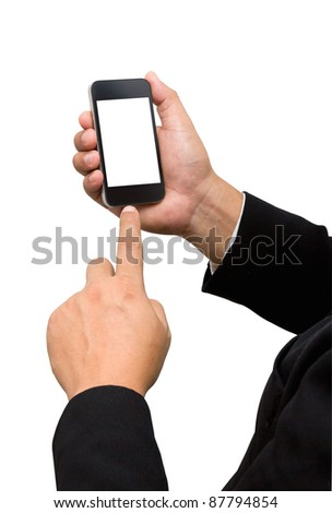 Businessman touch smart phone in hand on white background - stock photo