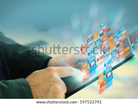 businessman touch social media. - stock photo