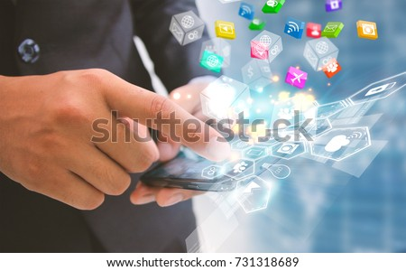 Businessman touch social media isons. Social media concept.