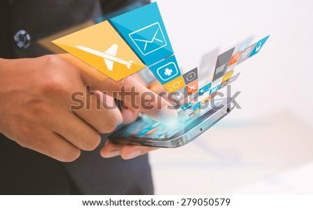 businessman touch social media,social network concept. - stock photo