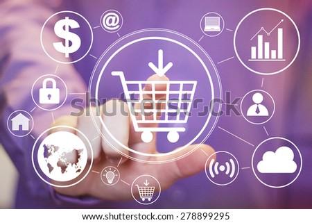 Businessman touch web button shopping cart icon set - stock photo