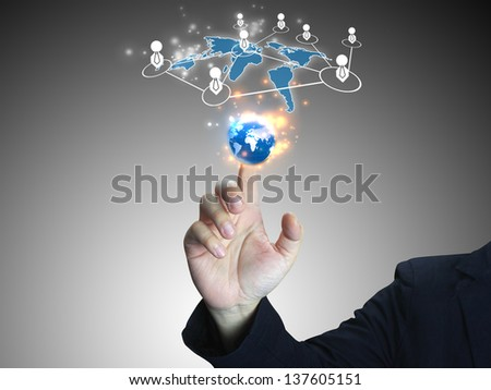 Businessman touch world button interface.technology concept - stock photo
