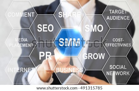 Businessman touched social media marketing sign. Cloud word SMM icon in hexagon. Business internet concept, web technology, cloud tag, website, smo, pr, grow, social network, public relations.
