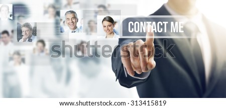 Businessman touching a ghost button on a touch screen interface, human resources and social networking concept - stock photo