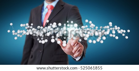 Businessman touching abstract connection interface with lines and dots 3D rendering