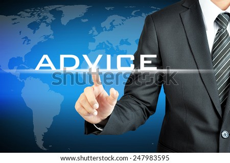 Businessman touching ADVICE sign on virtual screen - stock photo