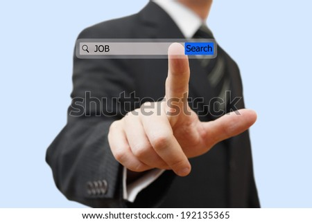 Businessman touching an job search bar. Find job over internet concept - stock photo