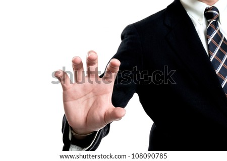 businessman touching and select concept with clipping path - stock photo