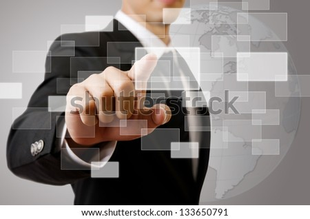 Businessman Touching button on the whiteboard, Selective focus on the finger. - stock photo