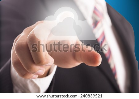 Businessman touching cloub icon for back up and support information