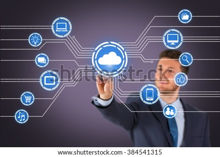 Businessman Touching Cloud Computing on Visual Screen - stock photo