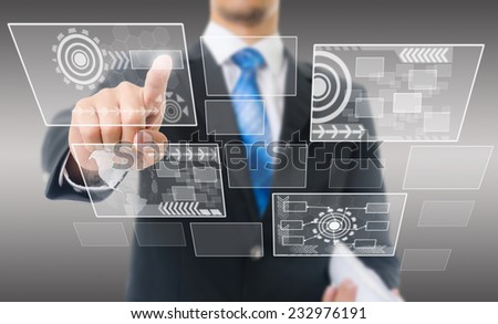 Businessman Touching Computer Icons, For Business and Technology Concept, Isolated on the white background. - stock photo